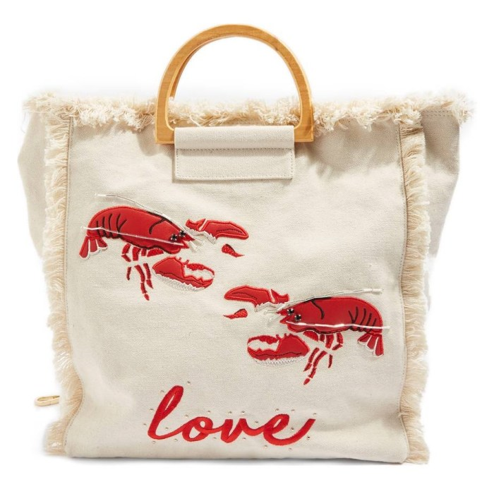 TOPSHOP Bobby Lobster Love Canvas Shopper Bag