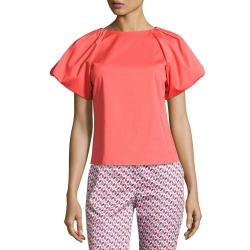 Armani Collezioni Pleat-Neck Pink Puff-Sleeve Blouse