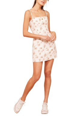 REFORMATION Ava Ruffle Linen Mini Dress