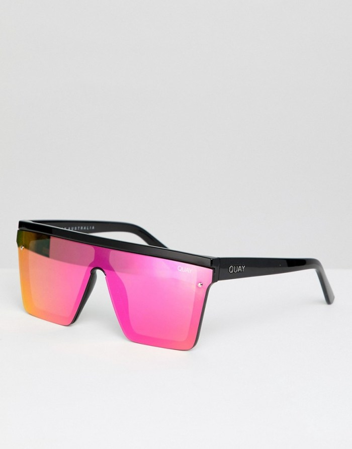 Quay Australia Hindsight square sunglasses in black & pink