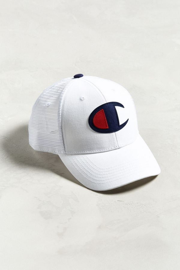 Champion White Twill Mesh Trucker Hat