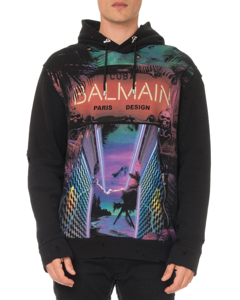 Balmain Men's Distressed Cuba-Print Hoodie Sweatshirt