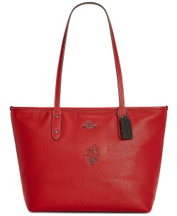 COACH Minnie Motif City Tote Red Pebble Leather Handbag
