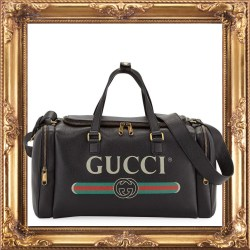 Gucci Mens Gucci-Print Leather Duffel Bag