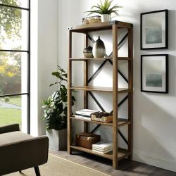 Rustic Farmhouse Brown Oak X-Back Bookcase
