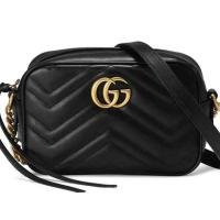 Gucci Marmont Calfskin Matelasse Mini Gg Black Leather Shoulder Bag NEW