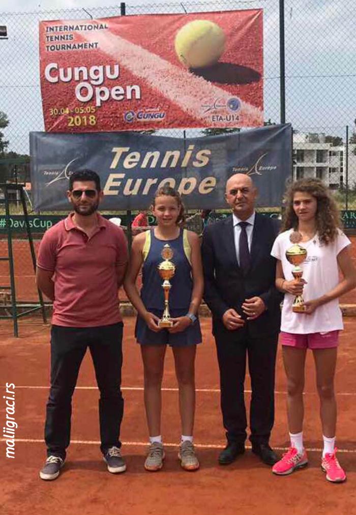 Tijana Sretenović, Divna Ratković, Senad Tafa, Cungu & Co Open 2018 U14, Tennis Europe Junior Tour, Ulcinj, Crna Gora, Montenegro