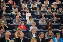 En session plénière à Strasbourg, lors du vote sur ACTA