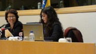 Malika BENARAB-ATTOU et Melissa RAHMOUNI (Présidente de l'Association Science Po Monde arabe).