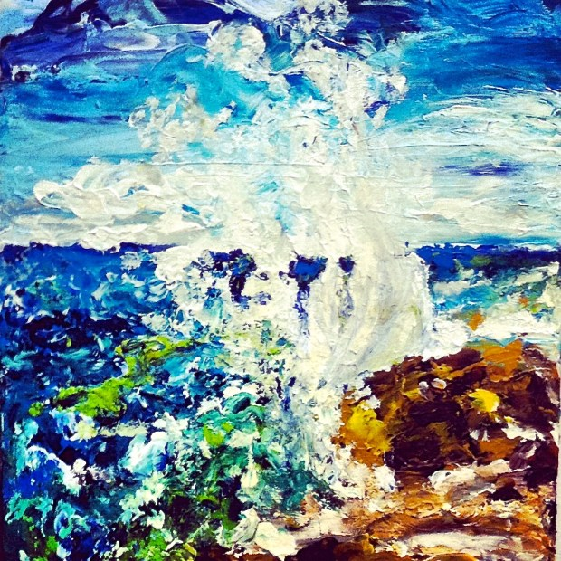 Acrylic Wave Painting by Malinda Knowles