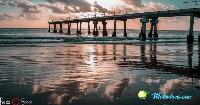 Golden beach buntwani with the Malindi Pier