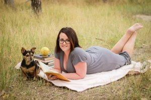 girl with books, dog, globe