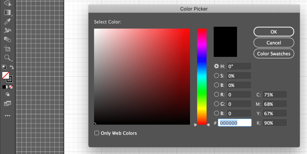 Color section in Adobe Illustrator