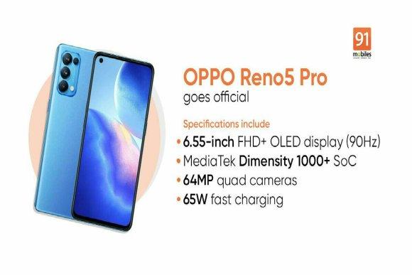 Oppo Reno 5 PRO en image avec spécifications du produit