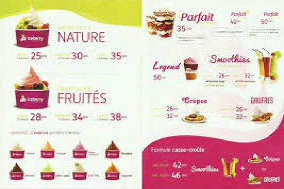 Menu et carte des prix en dirhams chez iceberry Maroc