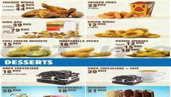 la carte et menu avec prix chez Burger King