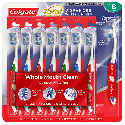 Colgate Total Advanced Whitening Toothbrush, 8-pack