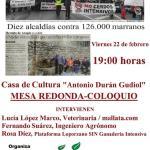 """Mesa redonda-coloquio en Sabiñánigo """"ganadería intensiva de porcino a examen"""""""