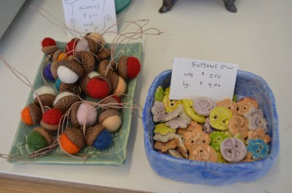 Locally made felted wool ornaments and buttons for your special projects