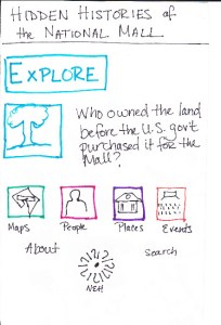 Prototyped homepage drawn on paper.