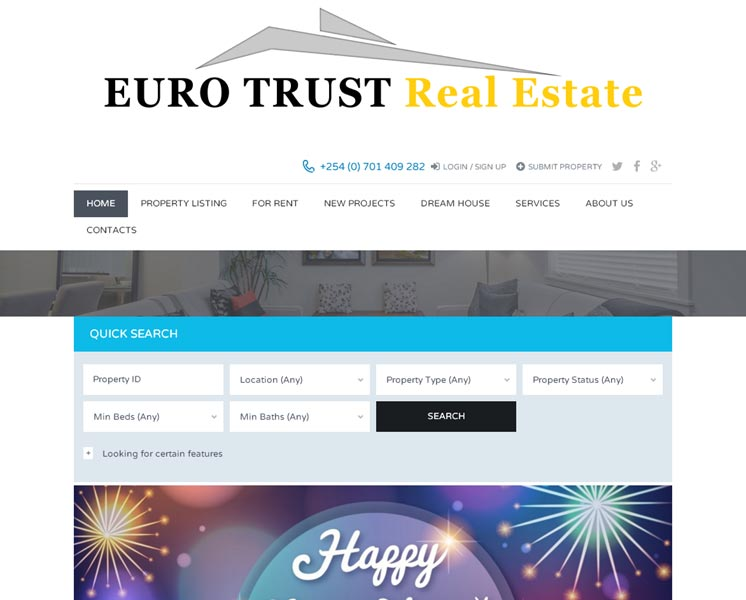 Euro Trust Real EstateProgrammierung, System-Setup: Websitewww.euro-trust.co.ke