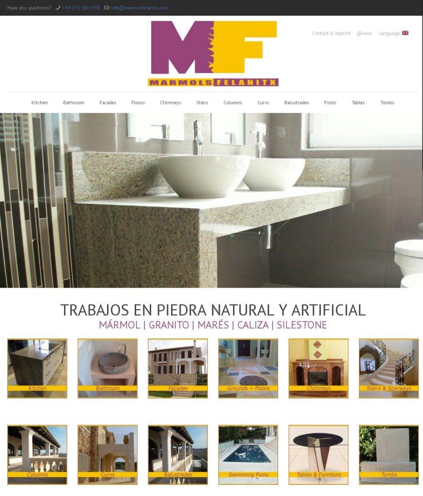 Marmols Felanitx Entwicklung der CI, Grafik & Layout für Online www.marmolsfelanitx.com
