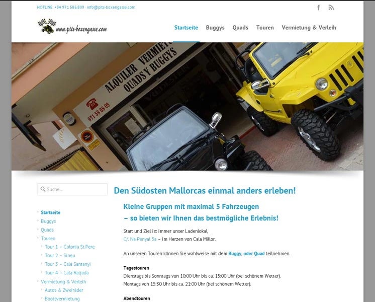 Pits BoxengasseEntwicklung der CI, Grafik & Layout für Online & Print, Online-Booking-Systemwww.pits-boxengasse.com