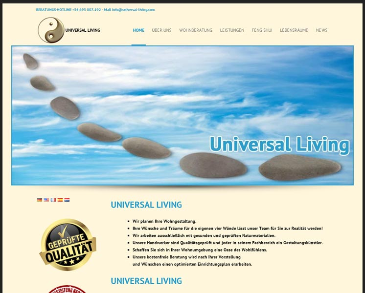Omsantipedia S.L.Layout > Erstellung > Websitewww.universal-living.com