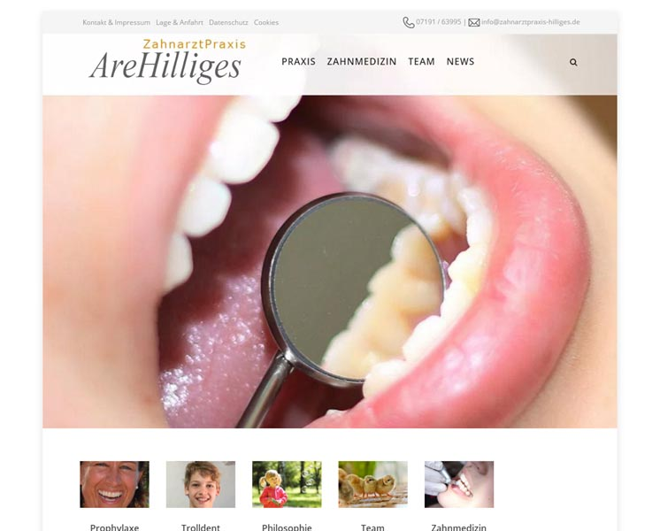 Zahnarztpraxis Are HilligesLayout & Coding: Websitewww.zahnarztpraxis-hilliges.com