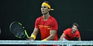Nadal en partido de la Copa Davis