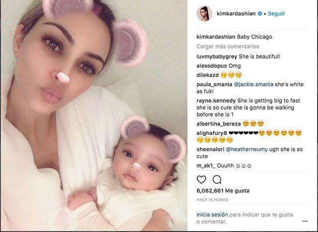 Kim Kardashian con su hija Chicago