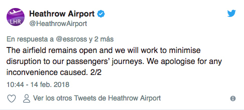 aeropuerto de londres tuit