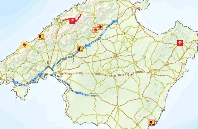 mapa carreteras cortadas