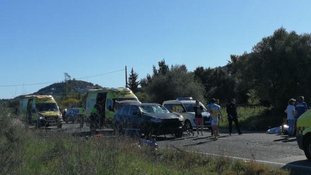 9 ciclistas atropellados en la carrertera de Capdepera 3