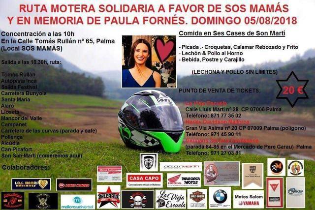 cartel de la organización de la ruta motera organizada por SOS Mamás Baleares en recuerdo de Paula