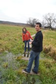 The field was wet, especially when we had to walk on stepping stones at the farmer's crossing.