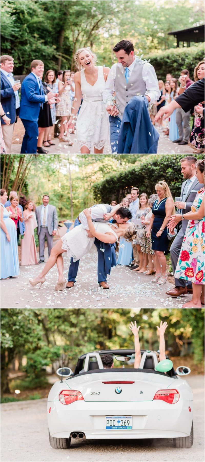 Millstone at Adams Pond Wedding in Columbia, SC Flower Petal Exit