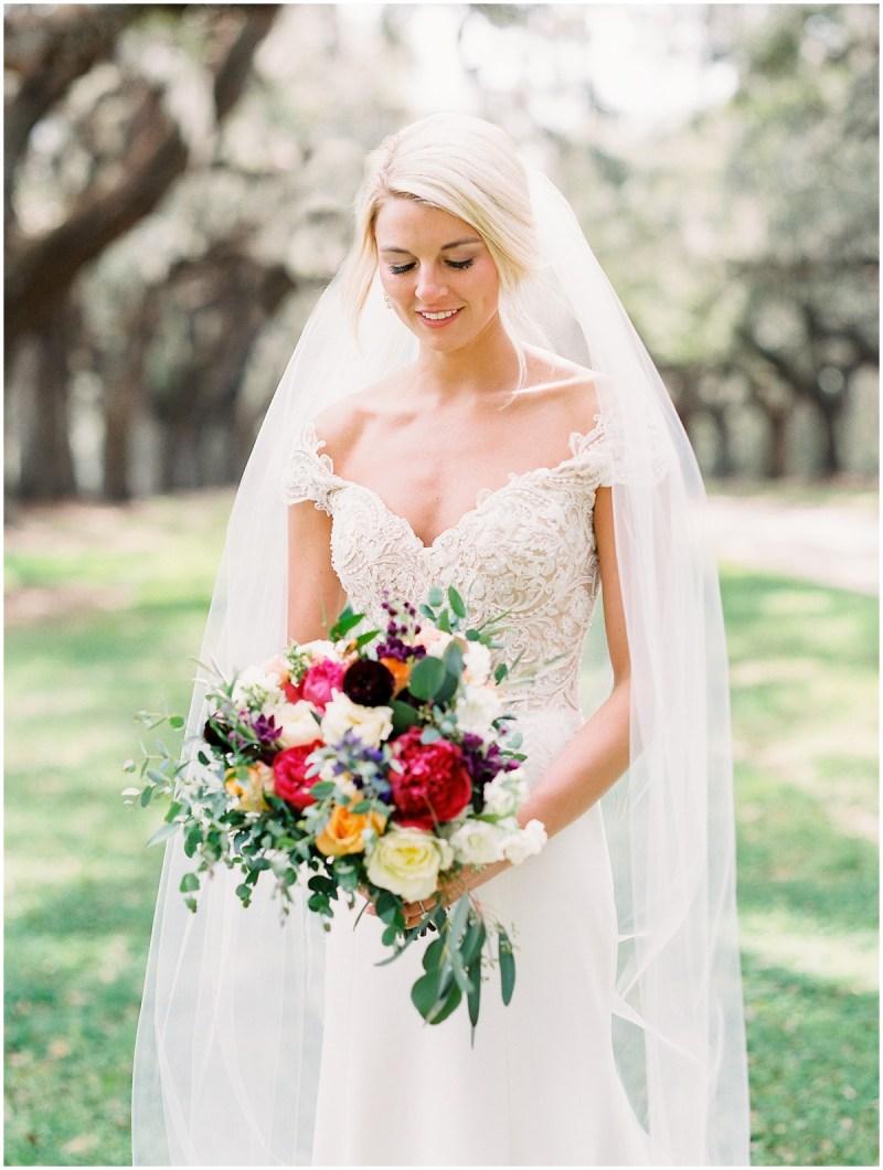 Boone Hall Plantation wedding film photography bridal portrait