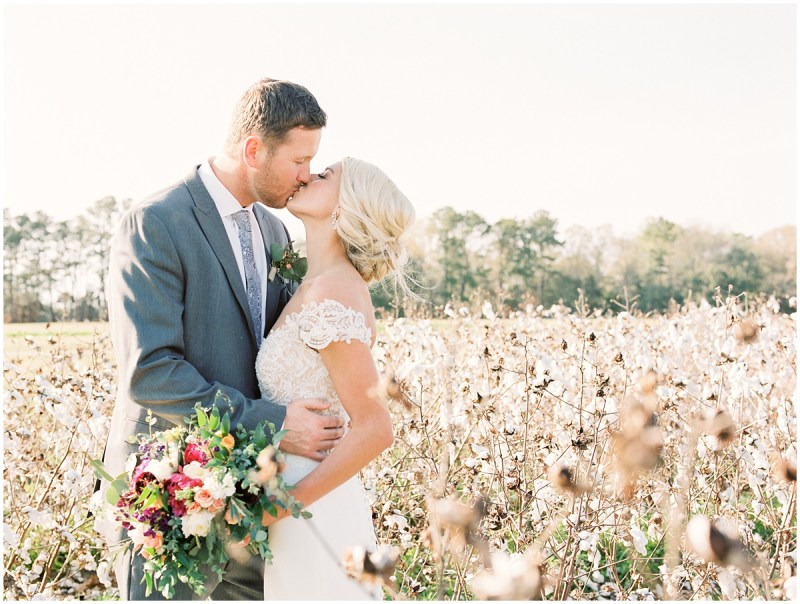 Boone Hall Plantation wedding Bride and Groom cotton field portraits