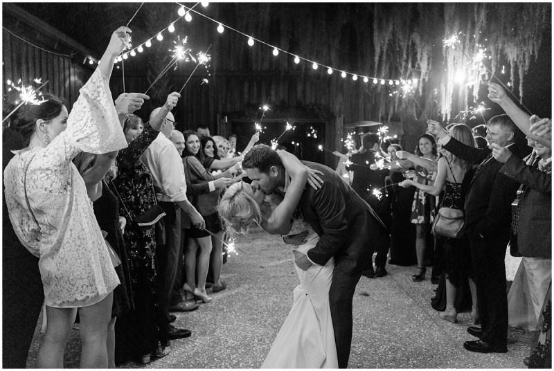 Boone Hall Plantation Wedding cotton dock reception sparkler exit