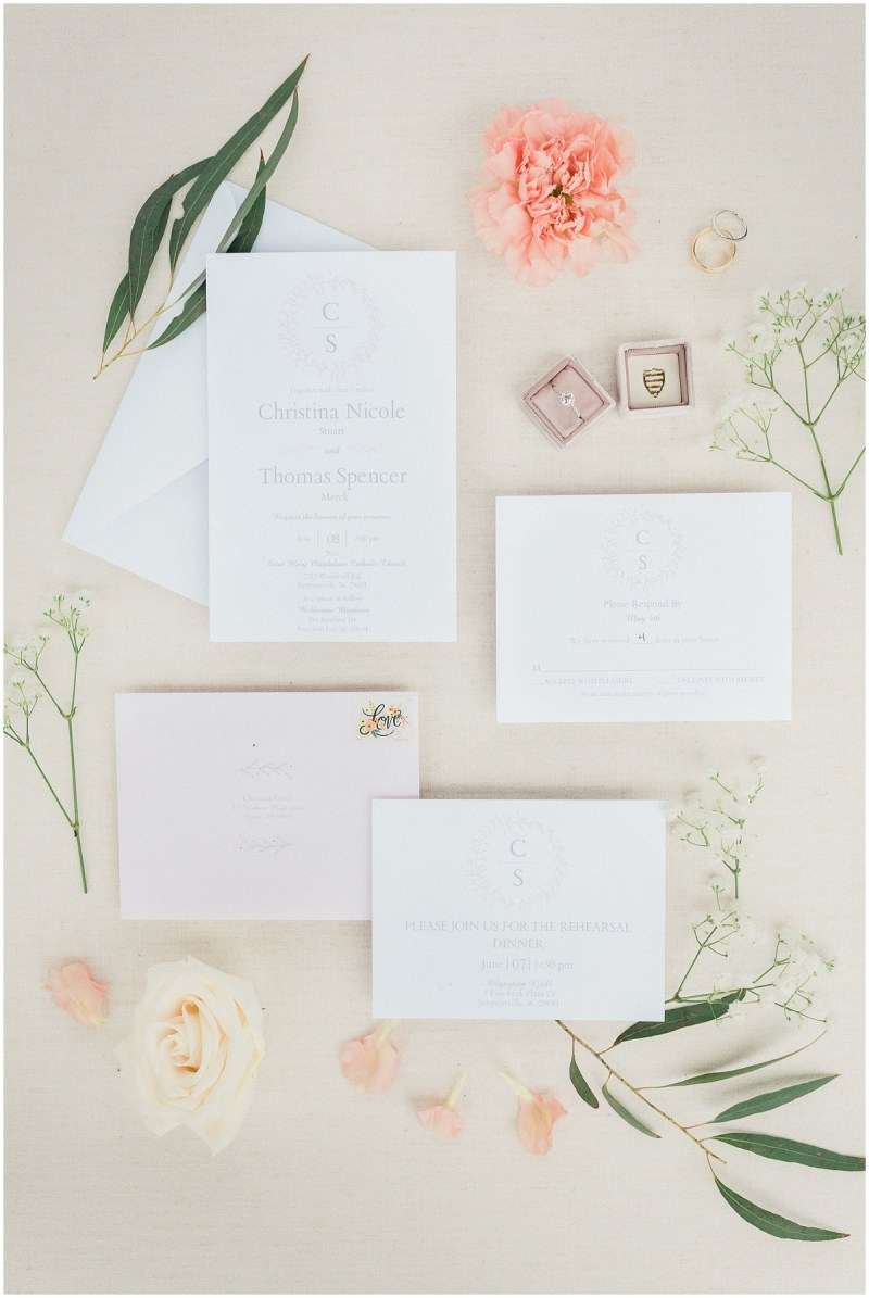 Styled Wedding Invitation Flat Lay