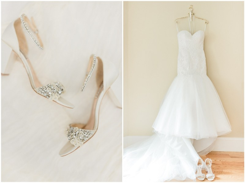 Bridal details wedding shoes and dress