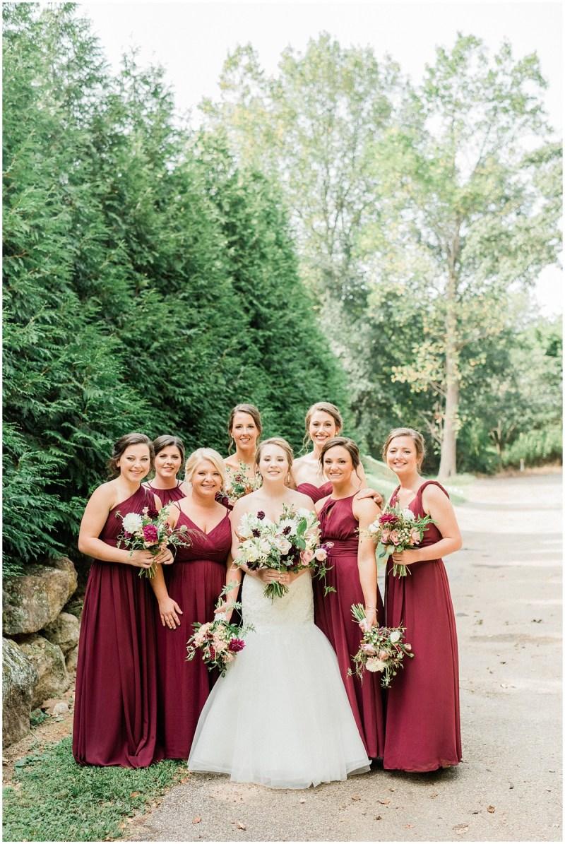Burgundy Bridesmaids | Larkins Sawmill Wedding