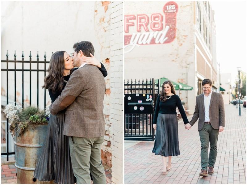 Fall downtown Spartanburg engagement photos