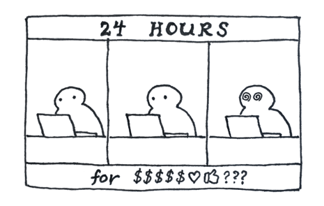 comic strip showing person on laptop for 24 hours
