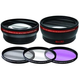 Xpix 58mm 2.2x Telephoto & .43x Wide-angle Lens + 3PC Filter Set Essential Photography Kit - Thephotosavings