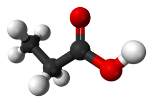 Estructura del ácido propiónico. Wikipedia, dominio público.