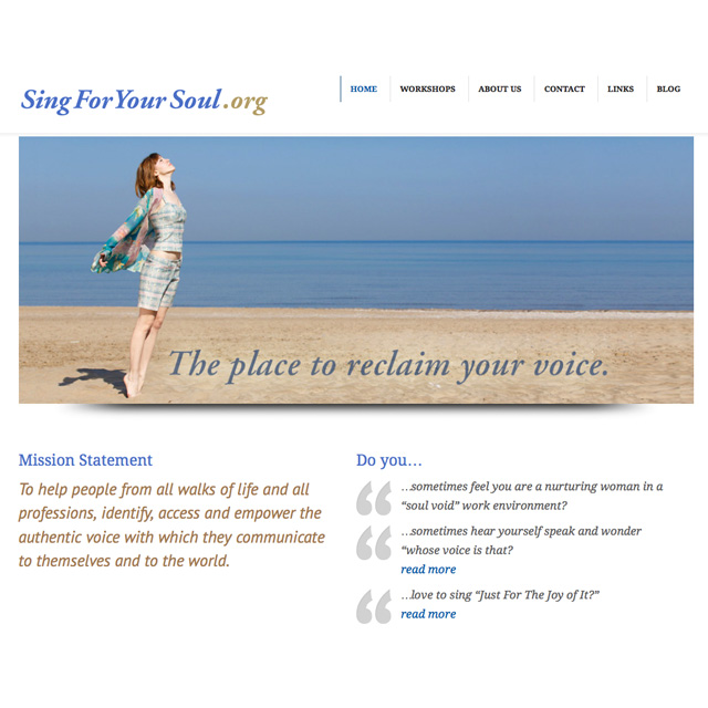 Sing For Your Soul web design project