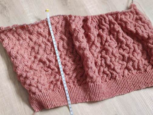 Gilet Albizia en cours de tricot