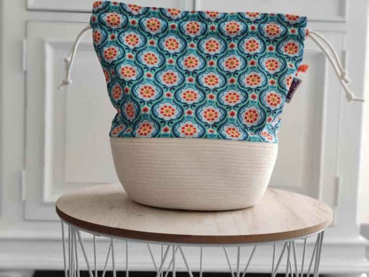Panier à projets tricot - Fleuris - Rétro - Maloraé Designs